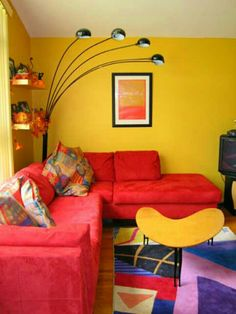 Living Room Bright Yellow Wallpaper Decoration For With Red Sofa The Company
