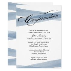 Confirmation Blue Modern Watercolor Invitation - script gifts template templates diy customize personalize special