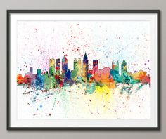 Atlanta Skyline, Atlanta Georgia Cityscape Art Print (2006) by artPause on Etsy