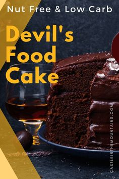 Nut Free Devil's Food Keto Cake - Gluten Free and 3 Net Carbs Frosting Recipes, Cake Recipes, Dark Chocolate Cakes, Chocolate Lovers, Two Layer Cakes, Keto Cake, Devils Food, Dairy Free Options, Gluten Free Cakes