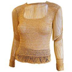 Loris Azzaro - Vintage 1970's Loris Azzaro Gold Chain Crochet Sweater found on Polyvore