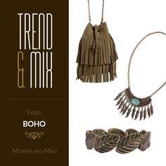 Mix de acessórios Boho!  #boho #bohostyle #bohemian #bohochic #amomuitoacessorios #tendencia #trend #fashionbijoux #bijoux