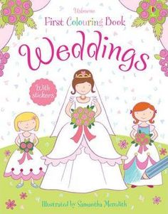 A-colouring-book-that-is-filled-with-pretty-bridesmaids-dresses-glamorous-bridal-gowns-lovely-shoes-gorgeous-flowers-amazing-cakes-and-other-wedding-things-to-colour-It-includes-a-pre-coloured-backgrounds-that-make-the-simple-scenes-easy-for-young-children-to-complete-and-there-are-2-pages-of-full-colour-stickers-to-add-to-the-pictures
