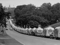 Long Line of Airstream Trailers Wait for Parking Space at a Campground During a Trailer Rally Photographic Print by Ralph Crane - Trailers, Campers, ETC - Design de Carros e Motocicletas Airstream Campers, Airstream Interior, Vintage Campers Trailers, Retro Campers, Vintage Caravans, Camper Trailers, Airstream Decor, Airstream Living, Classic Campers