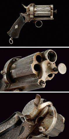 A pin-fire pepperbox revolver: provenance: France dating: third quarter of the 19th Century