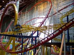 DONE - The Mindbender (world's largest indoor triple loop roller coaster), Edmonton, Alberta Biggest Roller Coaster, Best Roller Coasters, Travel Around The World, Around The Worlds, Places To Travel, Places To Go, All About Canada, Western Canada, Water Slides