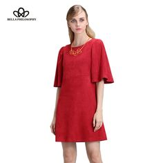 Find More Dresses Information about Bella Philosophy 2017 spring autumn Lotus butterfly sleeve dress zip double side faux suede dark green red women dress,High Quality sleeve dress,China butterfly sleeve dress Suppliers, Cheap women dress from Bella Philosophy on Aliexpress.com