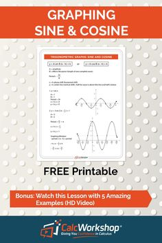 - Graphing Sine and Cosine Functions - Complete walkthrough with examples. Perfect for students and teachers in High School Trigonometry class or even Algebra 2 with trig. Grab your FREE handout today! Math Class, Math Teacher, Teaching Math, Maths, Math Education, Trigonometric Functions, Precalculus, Math Courses, Algebra 2