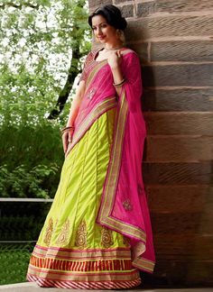 Genius Embroidered Green And Pink Net Lehenga Saree, Product Code :7292, shop now http://www.sareesaga.com/genius-embroidered-green-and-pink-net-lehenga-saree-7292  Email :support@sareesaga.com What's App or Call : +91-9825192886
