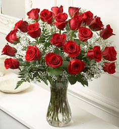 Long stem red roses & baby's breath flowers for valentine day Types Of Orchids, Types Of Roses, Growing Orchids, Growing Flowers, Cheap Flowers, Small Flowers, Red Flowers, Flowers For Valentines Day, Rose Arrangements