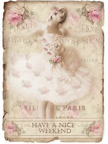 JanetK.Design Free digital vintage stuff: Oude foto Ballerina en tag Fijn weekend