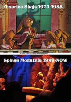 Animatronic animals from Disneyland's 'America Sings' ride were later reused on Disneyland's Splash Mountain ride (constructed in 1989)