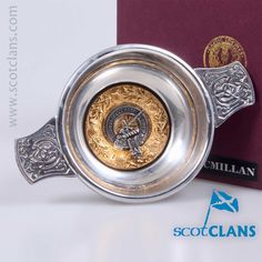 Pewter 3oz quaich with MacMillan Clan crest from ScotClans
