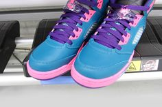 7c239b3446e7c2 The Air Jordan 5 Retro GS in Teal Pink-Purple hits Shoe Palace stores