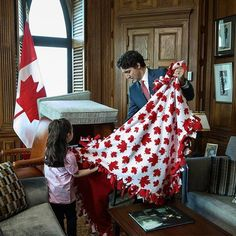 Justin Trudeau built a pillow fort with a little girl after she won a contest