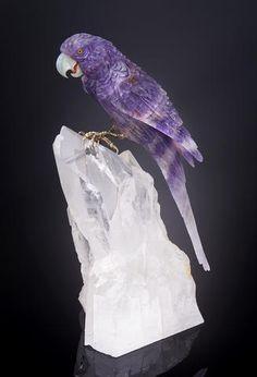 Amethyst Parrot on Quartz Base