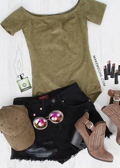 ea143d5a9779 Bardot Short Sleeve Suede Bodysuit OLIVE Ribbed Bodysuit