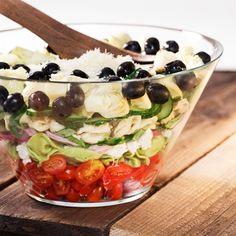 7 layer Mediterranean Tortellini Salad with light dressing. Eat the rainbow!
