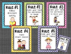 Whole Brain Teaching Classroom Rules Posters Bright Dots-{FREEBIE}