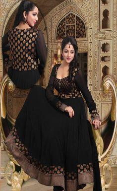 Black Pure Georgette and Brocade Anarkali Churidar Kameez @ $346.87 | Shop Now @ http://www.utsavfashion.com/store/sarees-large.aspx?icode=slkak9