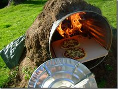 wood fire pizza oven from a garbage can