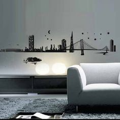 Art Applique by KMG San Franciscan Skyline Decorative Wall Decal  This is what I need for my son's room.  He is fascinated with buildings and bridges.