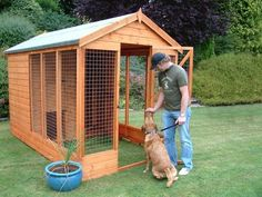 backyard dog run ideas | The Deluxe Dog Kennel and Run. Full height door way. Lockable slide ...