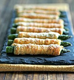 Crescent-Wrapped Asparagus. Asparagus wrapped with crescent rolls spread with Boursin Cheese then baked. Healthy, easy side, appetizer or snack. Simply Sated