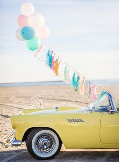 Nicole Alexandra Designs created a colorful set for this retro anniversary shoot