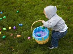 Easter egg hunt in the back yard