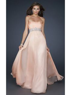 Strapless Full Length Prom Gown