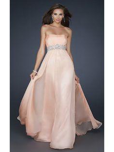 Strapless Full Length Prom Gown