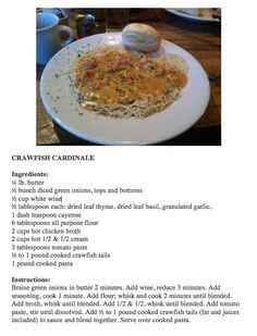 CRAWFISH CARDINALE. This recipe is from Felix's in Mobile.