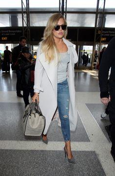 Khloe Kardashian wearing Celine Crocodile Bag, Saint Laurent Thorn Suede Pumps, Stella McCartney Flat Top Oversized Sunglasses and Malene Birger Orietta Trenchcoat
