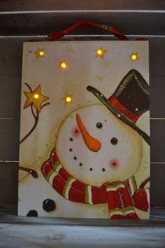 Christmas Snowman LED Lighted Art Canvas by MollieMarket on Etsy