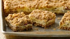 Creamy rhubarb filling is flanked top and bottom by a caramel-like crumbly mixture.  Yum!