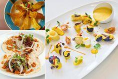 dishes with latin flair - the Huancaina de bacalao at mamajuana cafe (right) looks beautiful...purple potatoes?!