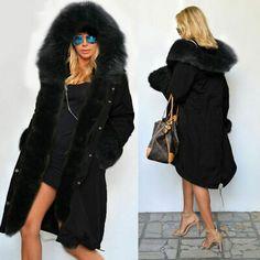 2016 Women Warm Winter Faux Fur Hooded Parka Coat Overcoat Long Jacket Outwear P Puffer Coat With Fur, Faux Fur Parka, Long Faux Fur Coat, Parka Coat, Hooded Parka, Trench Jacket, Hooded Jacket, Long Winter Coats, Winter Coats Women