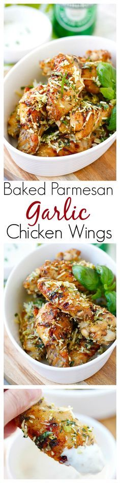 #gameday Baked Parmesan Garlic Chicken Wings – best and easiest baked chicken wings EVER with parmesan, garlic, basil, with blue cheese mustard dressing. Recipe from @Steamy Kitchen | http://rasamalaysia.com
