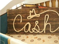 Western Wood Rope Name Sign Baby Country Rustic Distressed Nursery Decor Cowboy Room: 4 Letter Photo Prop Sign