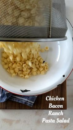 Chicken Bacon Ranch Pasta, Bacon Ranch Pasta Salad, Pasta Dishes, Food Dishes, Side Dishes, Cooking Recipes, Healthy Recipes, Diy Food, I Love Food