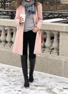 blush pink coat + cashmere scarf