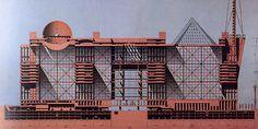 磯崎 新 Arata Isozaki 1986-An architecutural drawing by Arata Isozaki featured in Japan Architect magazine, issue 61, July 1986, p. 9.