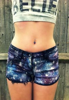 GALAXY SHORTS.... First thought was to pair with a TARDIS tee... @Cassandra Butler