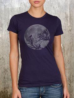 Full Moon and Ravens - Women's Alternative Apparel Midnight Blue Tee - Sizes S, M, L, XL