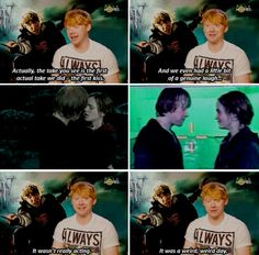 Rupert talks about Ron/Hermione kiss. (2011) It wasn't really acting. That genuine laugh or that kiss? :)