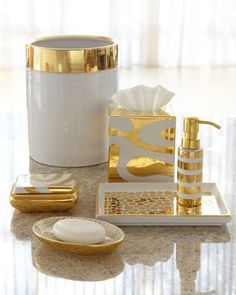 Porcelain & Gold Vanity Accessories by Waylande Gregory at Neiman Marcus.