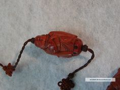 Chinese Carved Nut Seed Pit Buddha Bead-- Knots Olive Peach Worry