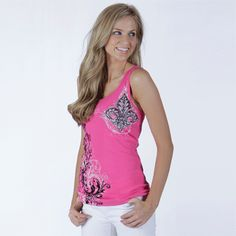 """FLEUR & VINES Tank Top ribbed tank with rhinestones on front and back! $25.00 + FREE shipping when you enter the coupon code """"PINTEREST"""" during checkout online. #fleurdelis #LSU #LA #madeinusa #fashion"""