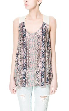 PRINTED TOP WITH CONTRASTING STRAPS from Zara, $29.90